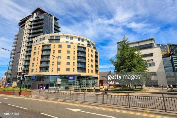 the college of music and bbc yorkshire broadcasting centre in leeds - leeds city centre stock photos and pictures