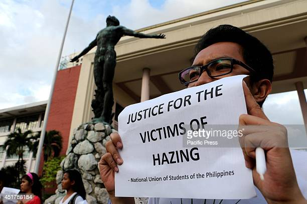 The Colleges Editors Guild of the Philippines and other youth groups gather in front of the Oblation to condemn all forms of fraternityrelated...
