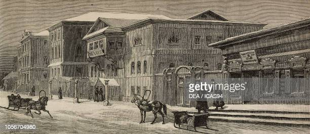 The collegiate schools, Yeniseysk, Siberia, Russia, engraving from a sketch by Julius Mendes Price, The Illustrated London News, No 2705, February...