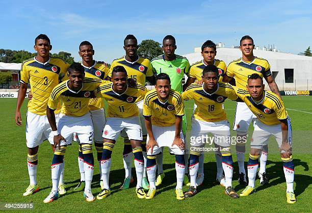 The Colombia first eleven during the Toulon Tournament Group B match between Colombia and Qatar at the Stade De Lattre on May 28, 2014 in Aubagne,...