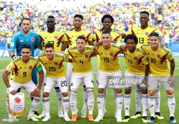 The Colombia players pose for a team photo prior to the 2018 FIFA World Cup Russia group H match between Senegal and Colombia at Samara Arena on June...