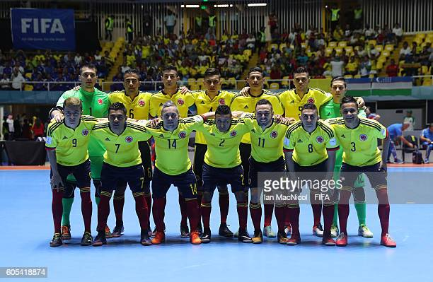The Colombia team are seen during the FIFA Futsal World Cup Group A match between Colombia and Uzbekistan at the Coliseo el Pueblo on September 13...