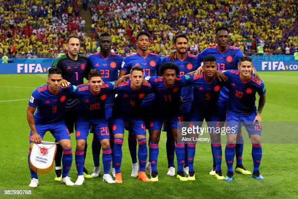The Colombia team pose for a team photo prior to the 2018 FIFA World Cup Russia group H match between Poland and Colombia at Kazan Arena on June 24...