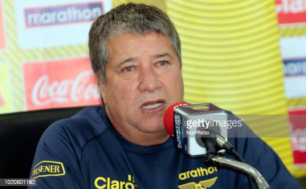 The Colombian coach Hernán 'El Bolillo' Gómez during the press conference reported on making the first call to Ecuadorian players for friendly...