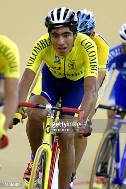 The Colombian Ferney Bello competes 28 November 2002 in the race for points of the XIX Central American and Caribbean Game El Salvador 2002 Bello won...