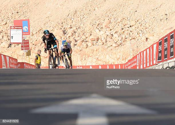 The Colombian rider Esteban Chaves sprints behind Wouter Poels who felt just 80 metres from the finish line and Chaves has won Stage 3 the Al Ain...