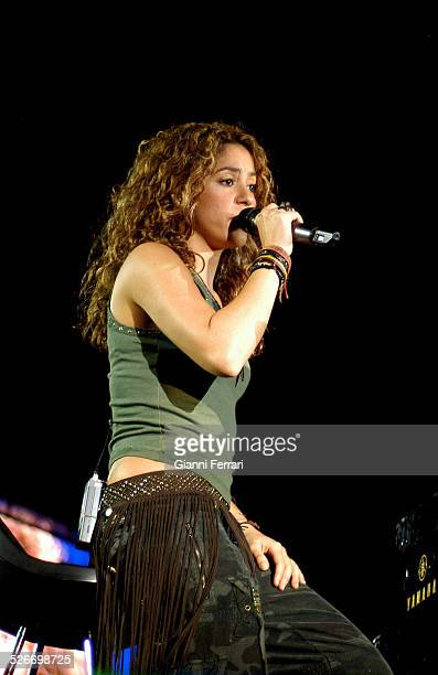 """The Colombian singer and songwriter Shakira performing during the """"40th Anniversary of the 40 Principales"""" in the Vicente Calderon Stadium 17th June..."""