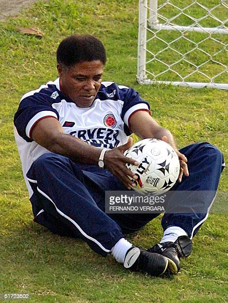 The Colombian soccer coach Francisco Maturana leads stretching exercises in Medellin on August 27 2001 The team is having their first practice of the...