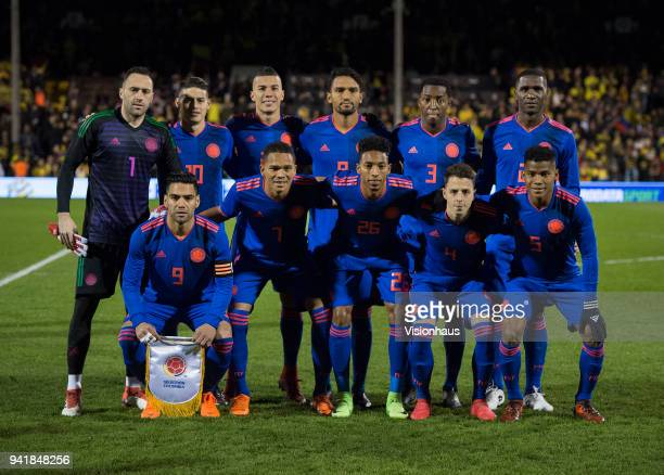 The Colombian team before the International Friendly match between Australia and Colombia at Craven Cottage on March 27 2018 in London England