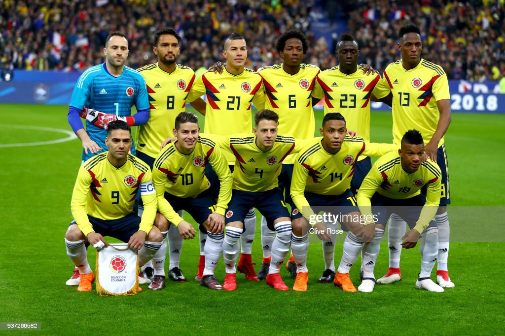 The Colombian team pose prior to the International friendly match between France and Columbia at Stade de France on March 23, 2018 in Paris, France.