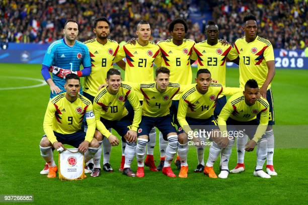 The Colombian team pose prior to the International friendly match between France and Columbia at Stade de France on March 23 2018 in Paris France