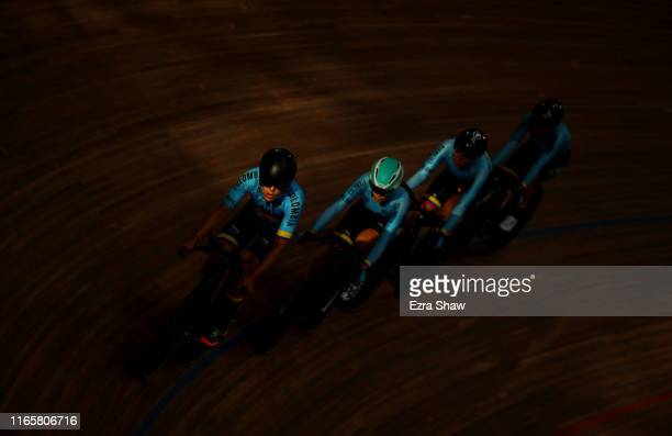 The Colombian women's team pursuit team warms up before their bronze medal race against Mexico at the Velodrome of Villa Deportiva Nacional on Day 7...