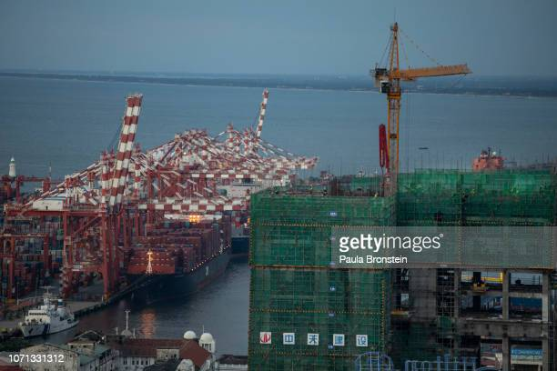 The Colombo deep sea port along side construction underway for the Ritz Carlton and the JW Marriott hotels which are Chinese managed projects seen on...