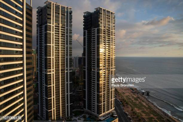 The Colombo oceanfront is seen with new skyscrapers that are part of the ShangriLa retails and office complex on November 20 2018 in Colombo Sri...