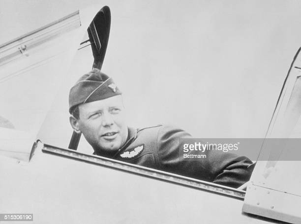 The Colonel Drops In. San Diego, California: Wearing the uniform of a colonel in the U.S. Army Air Corps, Colonel Charles A. Lindbergh, who is...