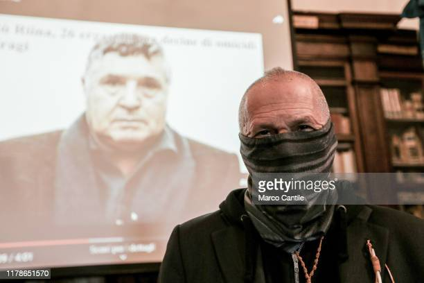 The Colonel of the Carabinieri Sergio De Caprio known as Captain Last with his face covered for security reasons during a press conference for...