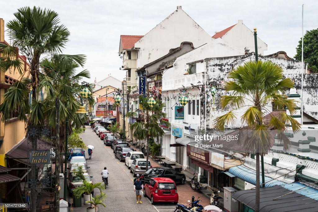 The colonial architecture in the streets of Little India in Georgetown in Penang, Malaysia : Stock Photo