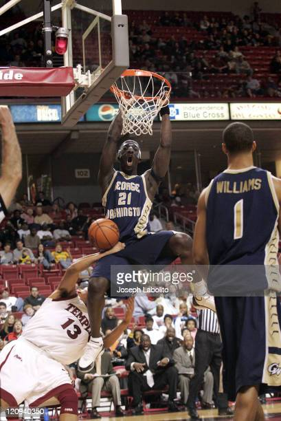 The Colonials Pops Mensah-Bonsu dunks as the George Washington Colonials defeated the Temple Owls 74 to 58 at the Liacouras Ctr in Philadelphia on...