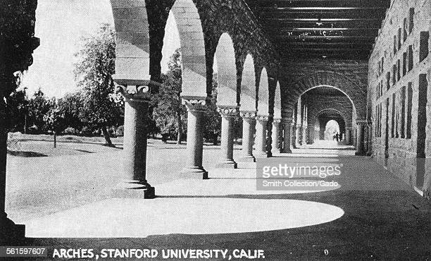 The colonnade and arches on the Stamford University campus a 19th century building Stanford University California 1943