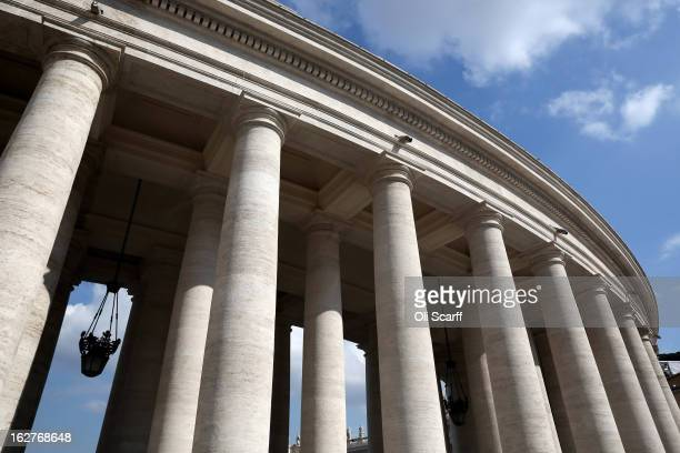 The colonnade at the edge of Saint Peter's Square ahead of Pope Benedict XVI's last public audience on February 26 2013 in Vatican City Vatican The...