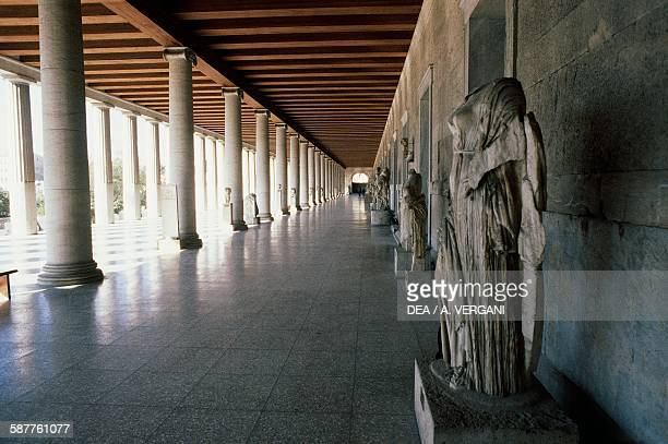 The colonnade of the Stoa of Attalos Athens Greece Greek civilisation 2nd century BC