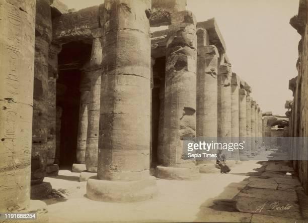 The Colonnades at Abydos / Abydos, Les Colonnades, Antonio Beato , 1880 - 1889, Albumen silver print, 26 x 35.8 cm