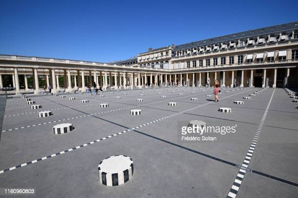 The Colonnes de Buren an art installation by French artist Daniel Buren in the inner courtyard of the Palais Royal gardens in Paris on July 5 2019 in...