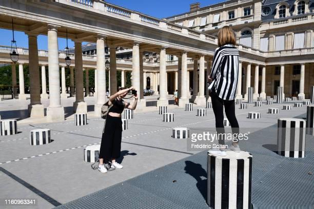 The Colonnes de Buren an art installation by French artist Daniel Buren in the inner courtyard of the Palais Royal gardens in Paris on July 5 2019 in...