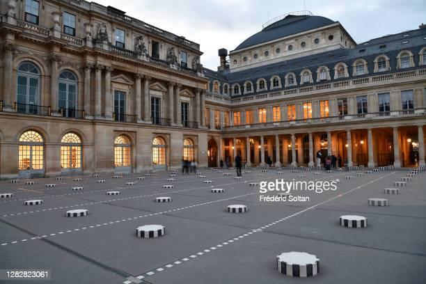 "The ""Colonnes de Buren"", an art installation by French artist Daniel Buren in the inner courtyard of the Palais Royal gardens in Paris on October 28,..."