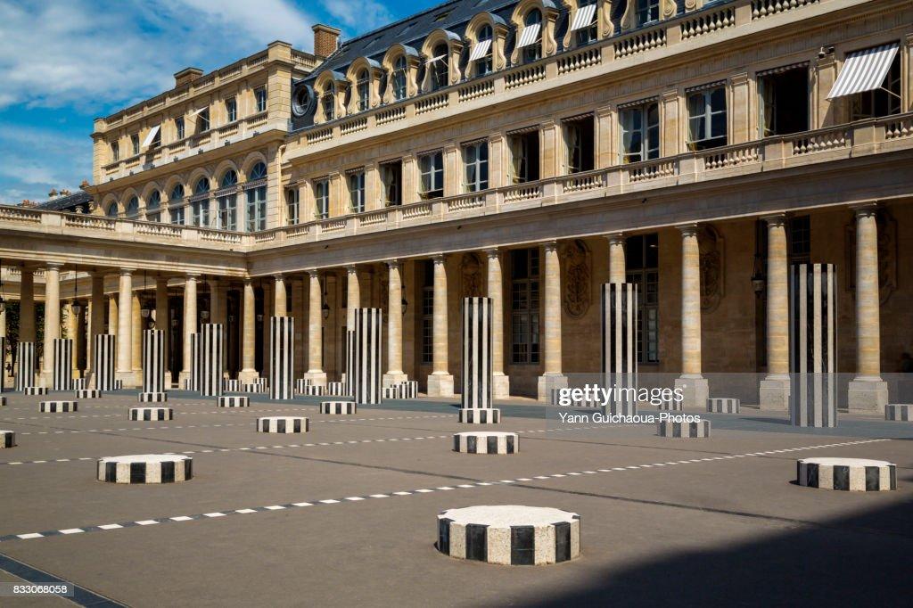 The Colonnes de Buren, inner courtyard, Palais Royal, Paris, France : Stock Photo
