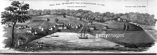 1752 The colony of Baltimore Maryland a tobacco port mill town and shipbuilding centre with a population of around 300 Original Artwork Taken from Mr...