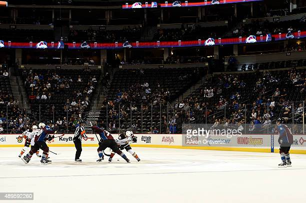 The Colorado Avalanche and the Anaheim Ducks face off in the new threeonthree overtime format during an overtime period of the Avs' 54 win on Tuesday...