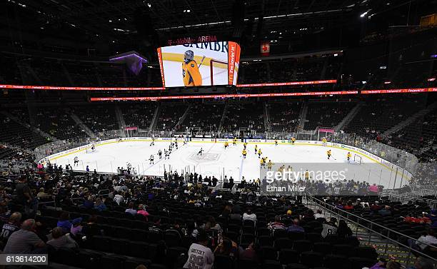 The Colorado Avalanche and the Los Angeles Kings warm up on the ice before their preseason game at TMobile Arena on October 8 2016 in Las Vegas...