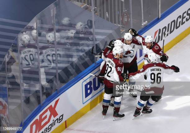 The Colorado Avalanche celebrate a goal against the Dallas Stars in Game Four of the Western Conference Second Round during the 2020 NHL Stanley Cup...