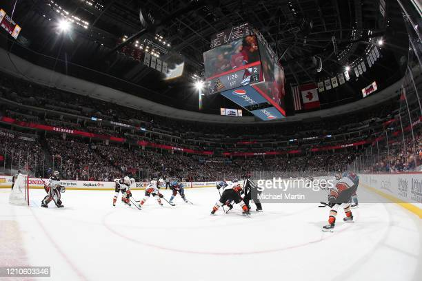 The Colorado Avalanche face off against the Anaheim Ducks at Pepsi Center on March 04 2020 in Denver Colorado