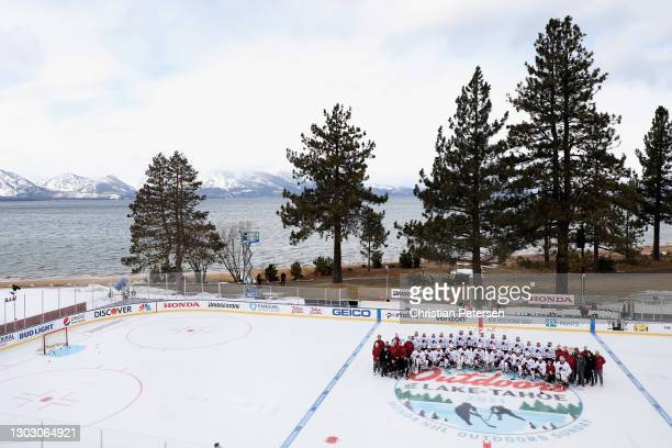 The Colorado Avalanche poses for a team photograph during practice prior to the 'NHL Outdoors At Lake Tahoe' at the Edgewood Tahoe Resort on February...