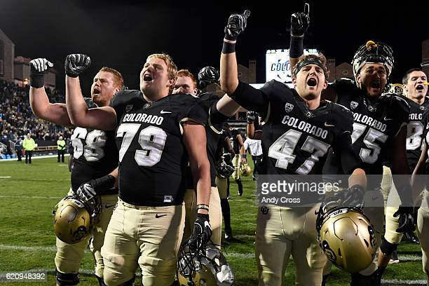 The Colorado Buffaloes sing the school fight song at the end of the game against UCLA at Folsom Field November 03 2016 Buffs won 2010