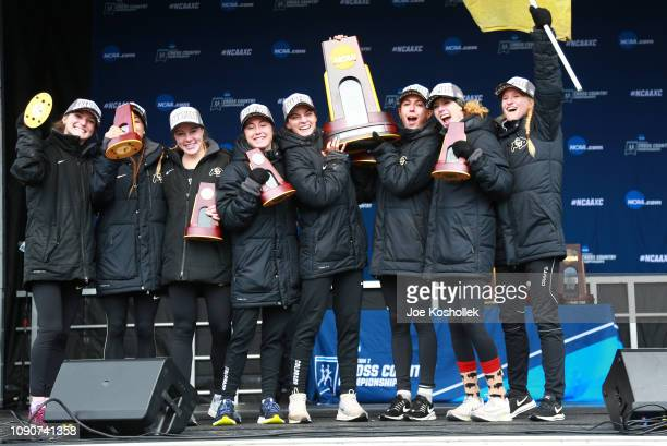 The Colorado Buffalos celebrates their team victory during the Division I Women's Cross Country Championship held at the Thomas Zimmer Championship...