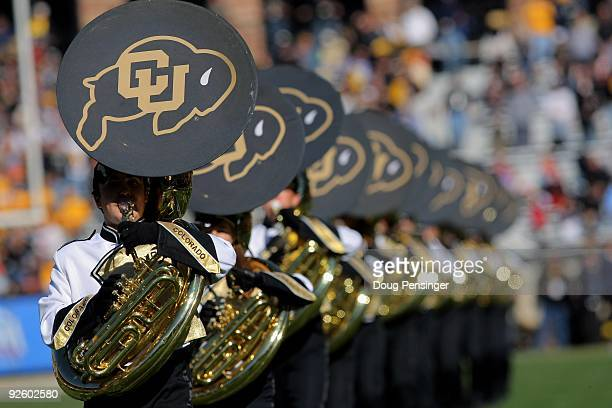 The Colorado marching band performs as the Buffaloes host the Missouri Tigers at Folsom Field on October 31, 2009 in Boulder, Colorado. Missouri...