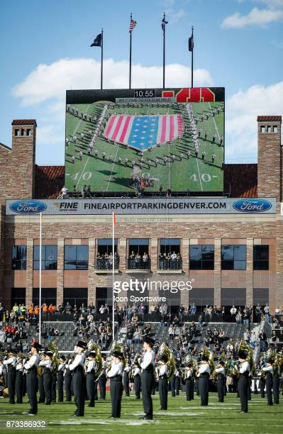 The Colorado marching band performs before the football team plays USC during the Colorado Buffalos game versus the USC Trojans on November 11 at...