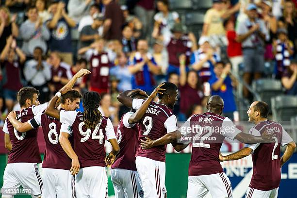 The Colorado Rapids celebrate Edson Buddle of Colorado Rapids's 100th Career Goal during a Major League Soccer game at Dick's Sporting Goods Park on...