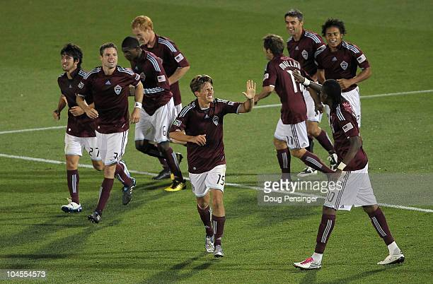The Colorado Rapids celebrate the team's fourth goal of the game scored by Quincy Amarikwa against the Philadelphia Union at Dick's Sporting Goods...
