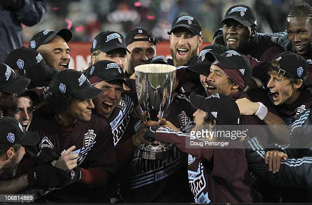 The Colorado Rapids hoist the trophey as they celebrate their victory over the San Jose Earthquakes in the MLS Eastern Conference Final at Dick's...
