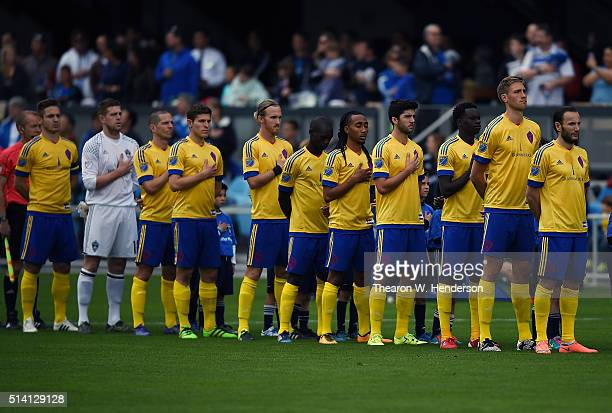 The Colorado Rapids stands for the National Anthem prior to playing an MLS Soccer Game against the San Jose Earthquakes at Avaya Stadium on March 6...