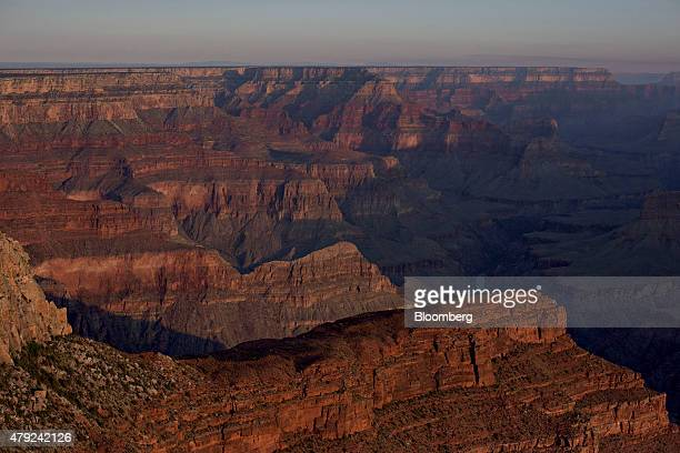 The Colorado River center runs through the Grand Canyon as seen from the South Rim trail of Grand Canyon National Park in Grand Canyon Arizona US on...