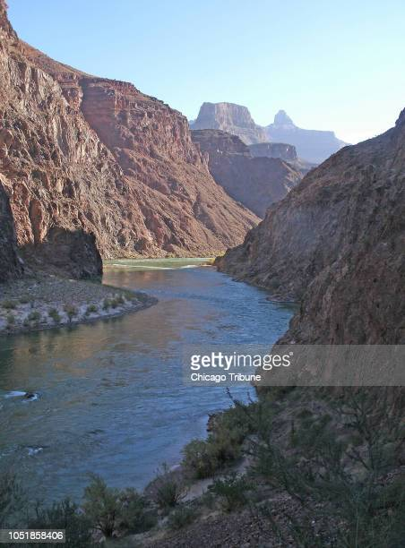 The Colorado River cuts its way through the Grand Canyon alongside the Bright Angel Trail