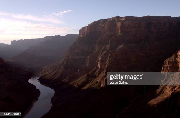 The Colorado River winds its way along the West Rim of the Grand Canyon in the Hualapai Indian Reservation on January 10 2019 near Peach Springs...