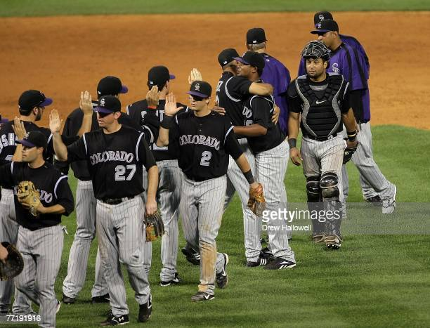 The Colorado Rockies celebrate after defeating the the Philadelphia Phillies by the score of 105 to win Game Two of the National League Divisional...