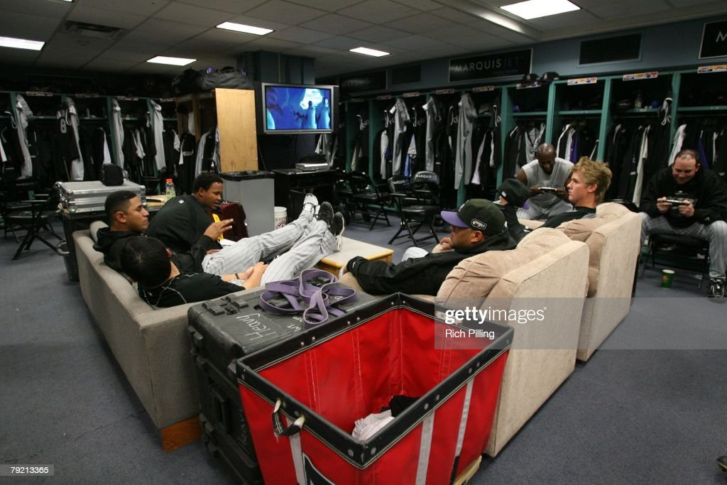 The Colorado Rockies in their locker room prior to Game Two of the 2007 World Series between the Colorado Rockies and Boston Red Sox on October 25, 2007 at Fenway Park in Boston, Massachusetts. The Red Sox defeated the Rockies 2-1.