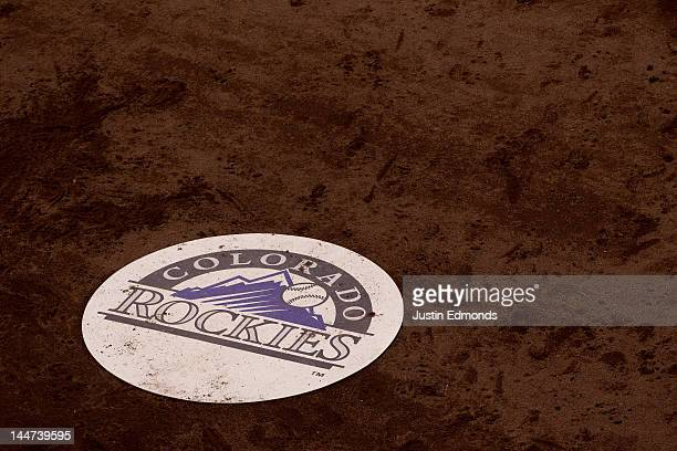 The Colorado Rockies on deck circle displays the team logo during a game against the Arizona Diamondbacks at Coors Field on May 16 2012 in Denver...